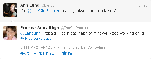 Anna Bligh Aksed Tweet